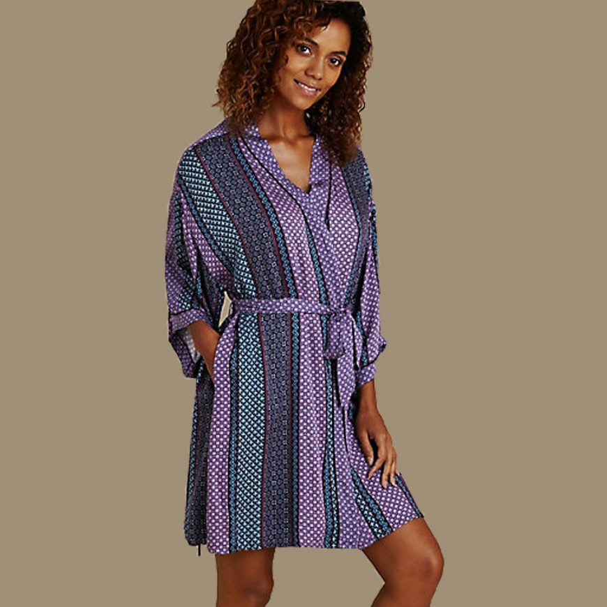 M&S Striped Mosaic Robe
